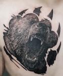Тату медведь на груди